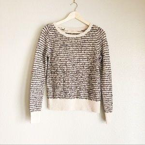 Ann Taylor LOFT Striped Textured Crewneck Sweater